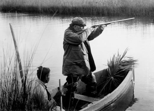 President Grover Cleveland takes aim in Buzzard's Bay, Cape Cod.