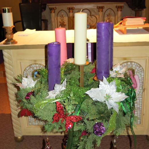 Advent Wreath in St. Ann's Catholic Church in Tubac, AZ