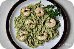 High Protein - Complex Carbs: Pesto Spinach Pasta with Pine Nuts and Shrimp or Chicken