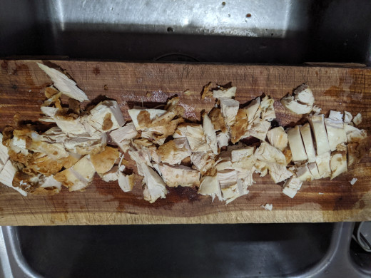 Chop the chicken into bite size chunks