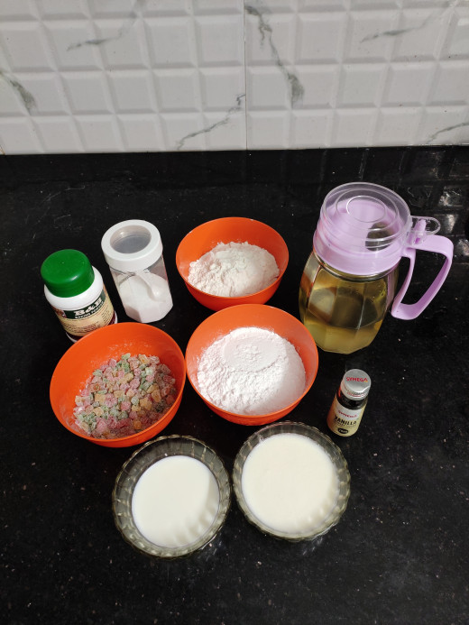 Ingredients to prepare batter kept ready in room temperature