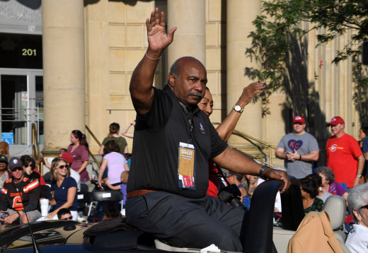 Aug 3, 2019; Canton, OH, USA; Willie Lanier reacts during the Pro Football Hall of Fame Grand Parade on Cleveland Avenue in Downtown Canton.