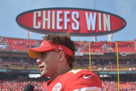 Sep 22, 2019; Kansas City, MO, USA; Kansas City Chiefs quarterback Patrick Mahomes (15) talks with reporters after the game against the Baltimore Ravens at Arrowhead Stadium.
