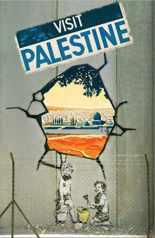 """""""Visit Palestine"""" – A tribute to Panski signed by the artist WIZ, which restores a paste by Franz Krauss dating back to 1936"""