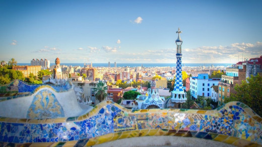 Panoramic view of the entrance to the Park Güell. Barcelona,