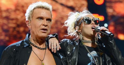"""Miley Cyrus with Billy Idol performing """"Rebel Yell"""""""
