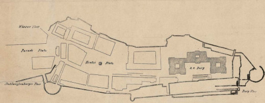 The blueprint of the building is easy to spot on this general plan from 1750. We can also see the well in the middle of the square. The Red Hedgehog stands in a central part of the square, just a corner away from the Fortuna Inn.