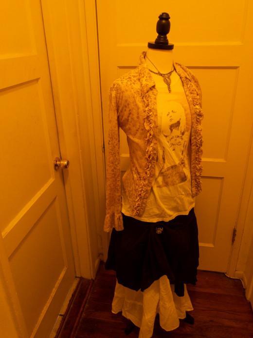 "Velvet blouse, t-shirt from ""Target"" and black and white skirts"