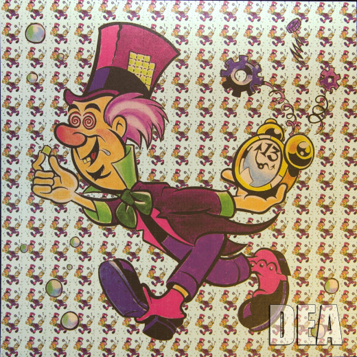 Blotter art is used to divide liquid LSD into individual doses when the liquid is absorbed into the paper.