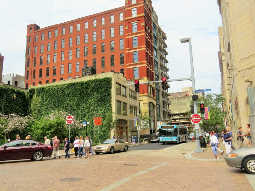 Wall of greenery, a nice addition to a bustling downtown.
