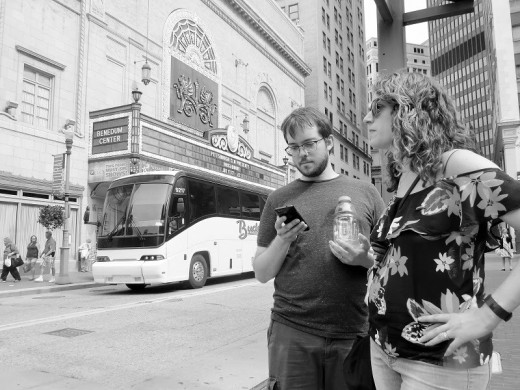 My daughter and son-in-law in the theater district.
