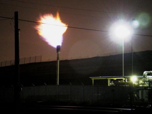 Landfill gas burning