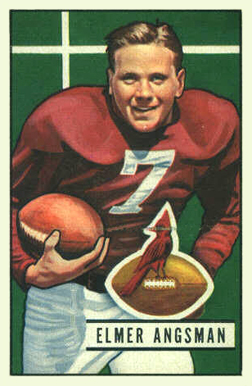 Former Chicago Cardinals running back, Elmer Angsman, is pictured on his 1951 Bowman football card.