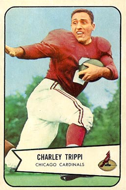 Former Chicago Cardinals running back, Charley Trippi, is pictured on his 1954 Bowman football card.