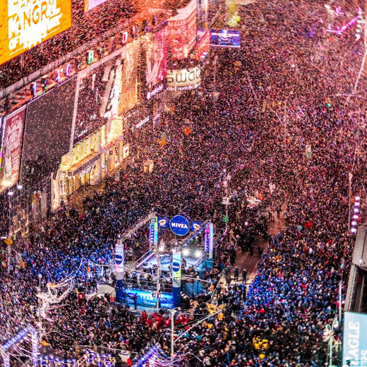 New Year's Eve, Times Square, New York--crowd estimates1,000,000--but not very musical