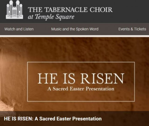 Easter program as presented by the Mormon Tabernacle Choir--it features music, but nothing like Christmas