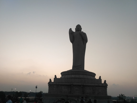 Buddha statue in the middle of the Hussain Sagar