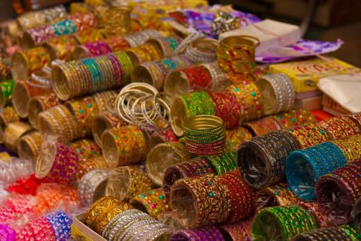Shopping for bangles near Charminar