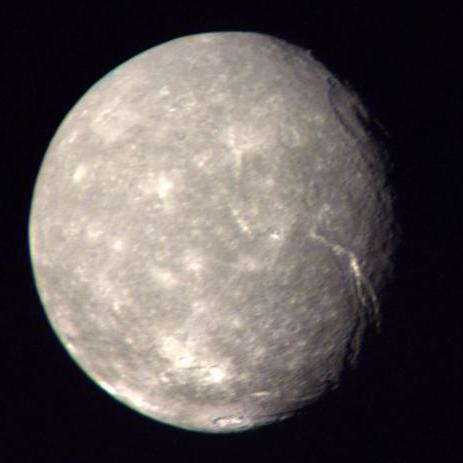 Titania: Uranus's largest moon (image taken by Voyager 2 during flyby in 1986).