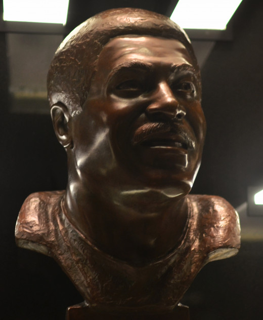 The bust of former Cleveland Browns running back, LeRoy Kelly, as seen in the Pro Football Hall of Fame. He was the 110th overall selection in the 1964 NFL Draft, but became a 1,000-yard rusher for the Browns.