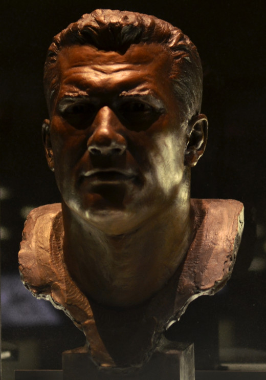 The bust of former Cleveland Browns offensive lineman, Gene Hickerson, as seen in the Pro Football Hall of Fame. He was a seventh-round pick in the 1957 NFL Draft, who easily produced more than would be expected of a 78th overall draft pick.