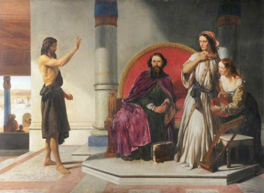 John the Baptist talking to King and Herodias
