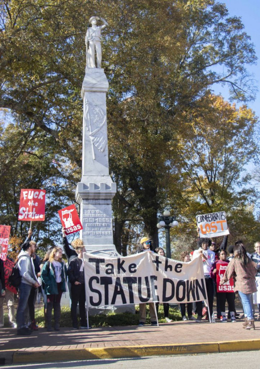 """Protest to remove the Confederate Soldier Statute At University of Mississippi """" Ole Miss"""""""