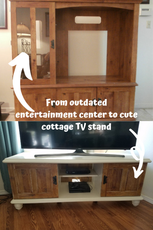 How to Chalk Paint Laminate Furniture: A Sauder TV Stand Before and After