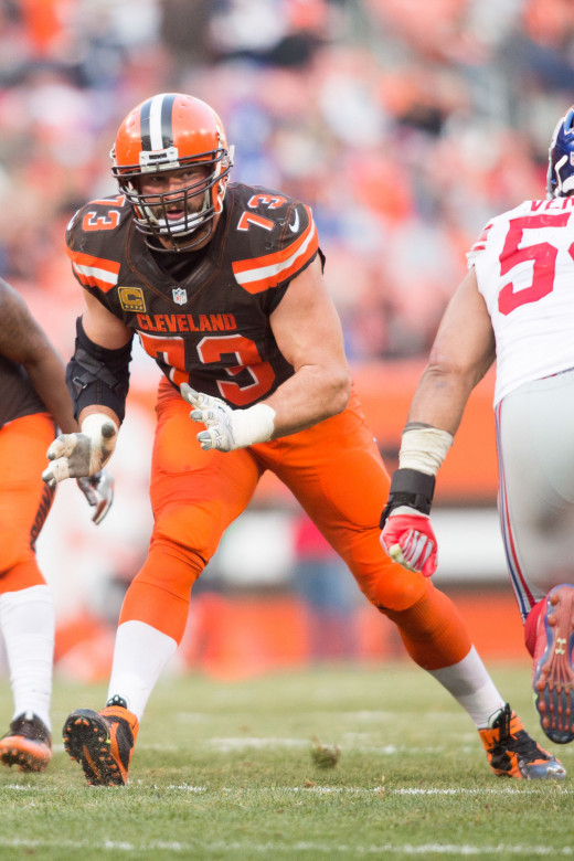 Former Cleveland Browns left tackle, Joe Thomas, prepares to block defenders during a 2016 game against the New York Giants. After being drafted No. 3 overall in 2007, Thomas became one of the most reliable players in franchise history.