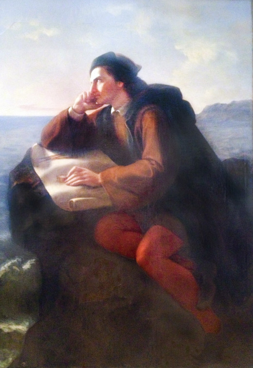 """Painting """"The Inspiration of Christopher Columbus"""" by Jose Obregon, 1856."""