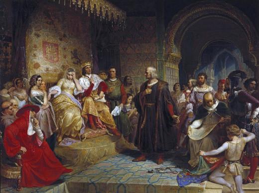 "Painting ""Columbus Before the Queen"" by Emanuel Gottlieb Leutze 1843."