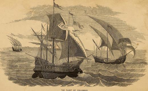 The fleet of Columbus's three ships.