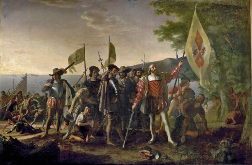 claiming the land for his Spanish patrons, standing with his hat at his feet, in honor of the sacredness of the event. The crew displays various emotions with some searching for gold on the beach. The natives of the island watch from behind a tree.