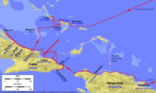 Map of the first voyage of Christopher Columbus, 1492-1493.