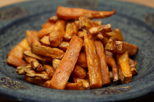 Sweet potatoes are rich in  fiber and vitamins and minerals including iron, calcium, selenium. Also a good source of most of  B vitamins and vitamin C.