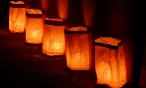 Paper bag luminaria - simple and festive patio lights.