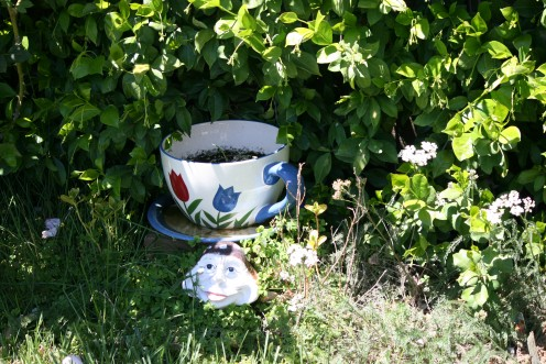 "One of the themes of this Faerie Garden is miniatures, another, oversized fantasy items like these""Alice in Wonderland"" teacups..."