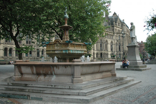 The fountain in Albert Square, erected for the Diamond Jubilee of Queen Victoria
