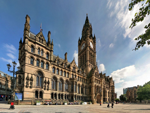 Albert Square, overlooked by Manchester Town Hall