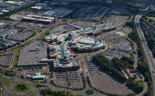Trafford Centre & Barton Square from above. Image taken of Trafford Centre, J9 M60, near Manchester