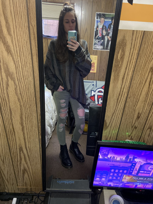 Sweater, thrifted at local hospital thrift store. Pants were second hand at Plato's Closet for $7. Boots, bought on sale, don't remember the price.