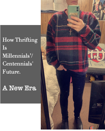 Sweater is thrifted from local hospital thrift store, pants were bought on sale 3 years ago for $15 when they were $75.