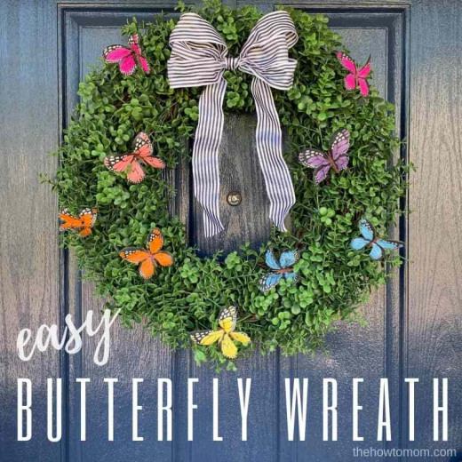 You can also use a green boxwood for the background of your butterfly wreath
