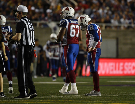 Former Cleveland Browns and Montreal Alouettes quarterback, Johnny Manziel (2), reacts after throwing an interception during the second quarter of a 2018 game in the Canadian Football League. Manziel couldn't find success in Cleveland or Canada.