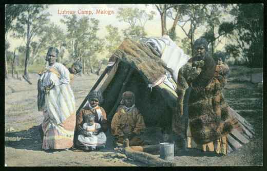Aboriginal Camp with Women and Kids