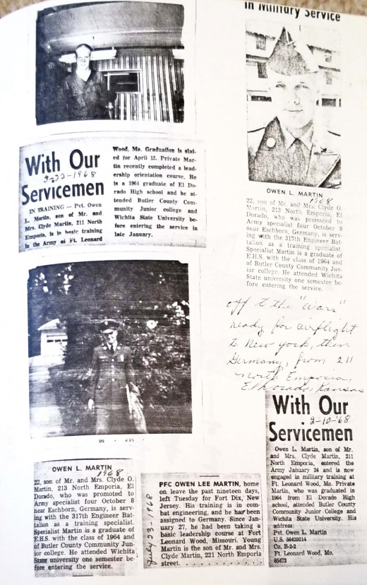 Clippings about Owen in the Army.