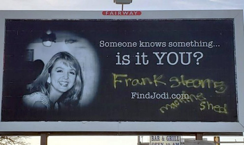 Cryptic Message on Billboard of Missing Person Jodi Huisentruit
