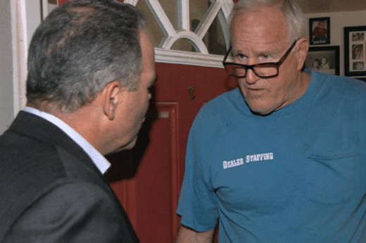 John Vansice answering questions from a reporter at his residence in Arizona. Photo courtesy of CBS News.