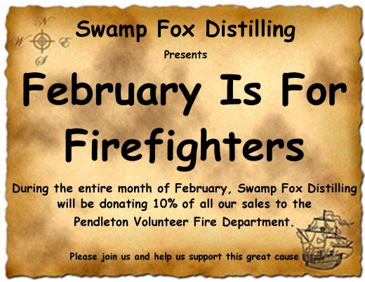 Swamp Fox Distilling will donate 10% of February Profits to Pendleton Fire Department's Building Fund.