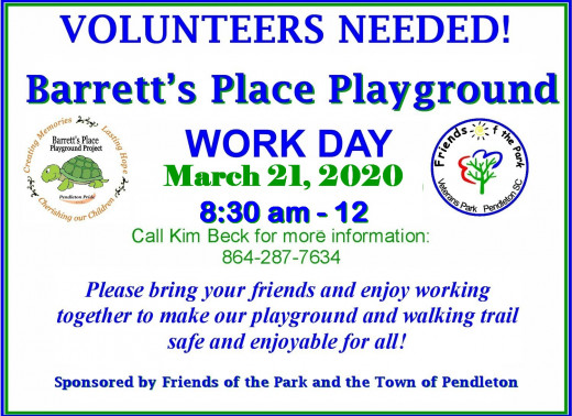 Spring Work Day at Barrett's Place Playground and Trotter's Trail at Veterans Park in Pendleton SC